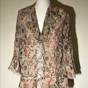 Patterned Shirt With Lace Ruffles